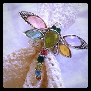 Jewelry - Adjustable Rhinestone Dragonfly Statement Ring